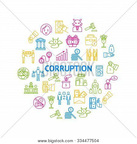 Corruption And Dishonesty Signs Thin Line Round Design Template Ad Include Of Bribe, Money, People A