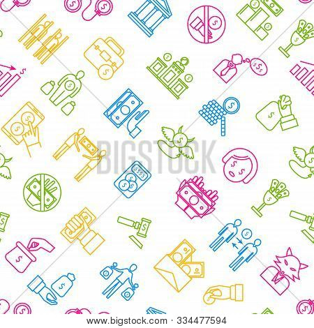 Corruption And Dishonesty Signs Thin Line Seamless Pattern Background On A White Include Of Bribe, M