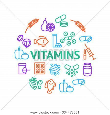 Vitamin And Dietary Signs Thin Line Round Design Template Ad Include Of Supplement, Bottle, Food, Pi