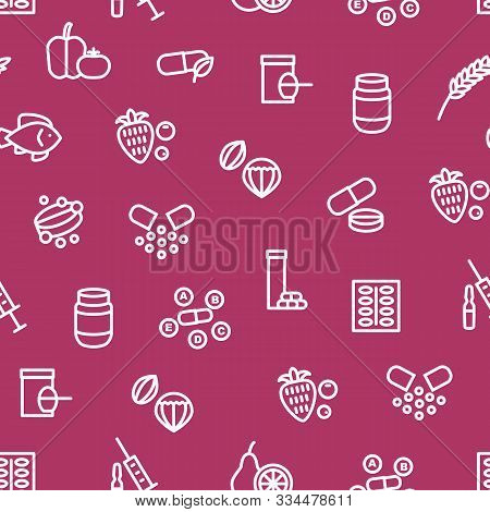 Vitamin And Dietary Signs Thin Line Seamless Pattern Background Include Of Supplement, Bottle, Food,