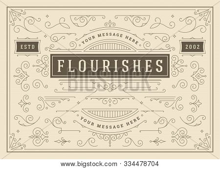 Vintage Ornaments Swirls And Scrolls Decorations Design Elements Vector Set, Flourish Ornate Calligr