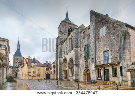 Square With Saint Lazare Church In Avallon Downtown, France