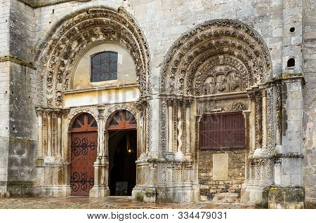 The Church Saint-lazare Is The Church Of The City Of Avallon In Burgundy, France. Its Architecture I