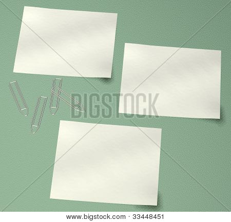 3 Note Paper On Green Background