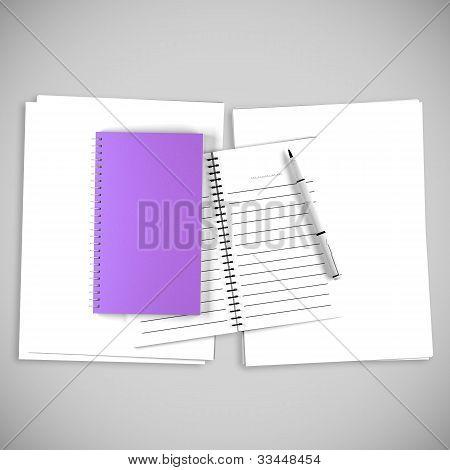 Blank Purple Organize Book For Write