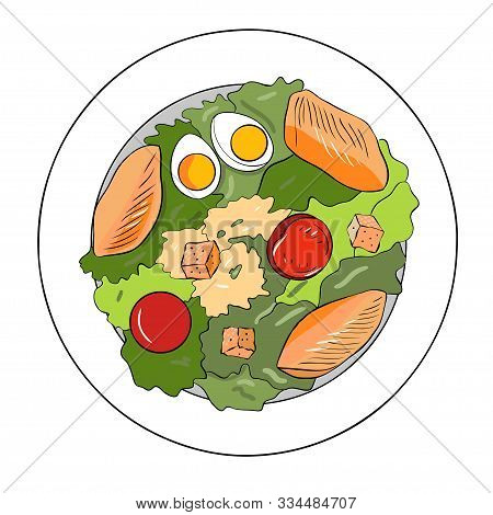 Caesar Salad With Chicken Breast, Croutons, Eggs And Tomatoes. Vector