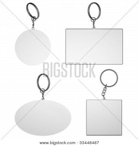 Empty White Key Rings On Isolated Background
