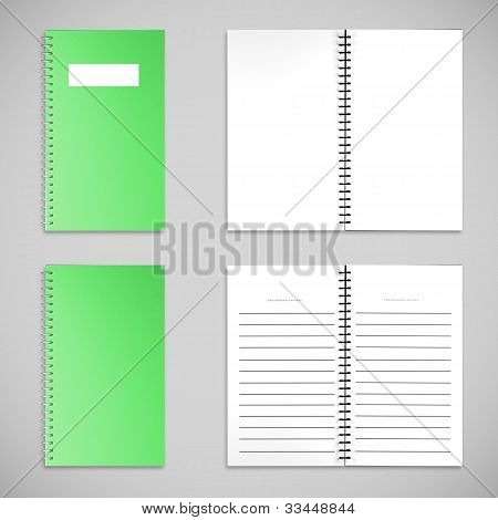 Green Satin Color Cover Note Book And Blank Paper
