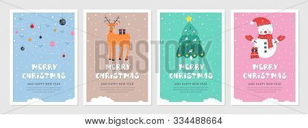 Set Of Christmas And New Year 2019 Snow Postcards. Flat Holiday Postcard Template. Collection Color