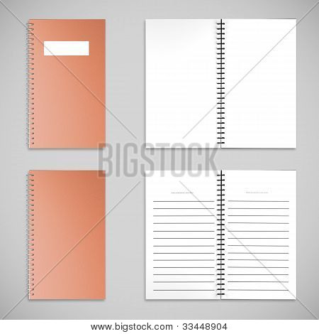 Orange Satin Color Cover Note Book And Blank Paper