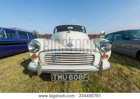 Rushmoor, Uk - April 19: Vintage British Morris Minor Car At A Meeting Of Classic Vehicles In Rushmo