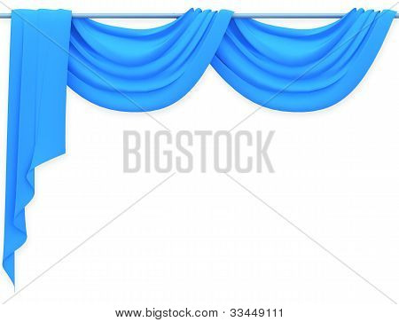 Blue curtain on the white background