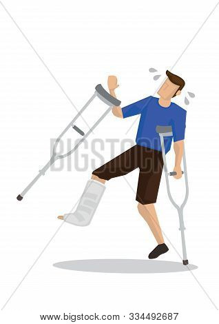 Injured Young Man Slip And Fall. Concept Of Accident Or Misfortune. Flat Isolated Vector Illustratio