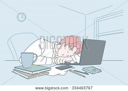 Stress, Weakness, Fatigue, Sleep At Workplace Concept. Young Man, Businessman Was Tired, Dozing At W
