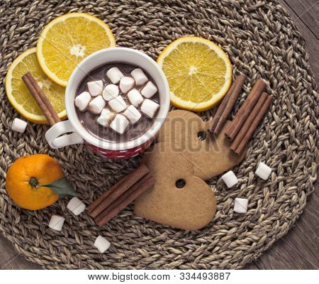 Cocoa With Marshmallows, Orange Slices, Cinnamon And Gingerbread Cookies.
