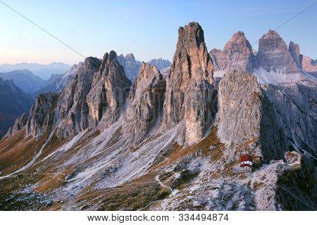 Alpine Refuge Fratelli Savio Fonda in Cadini di Misurina, Dolomites, Europe