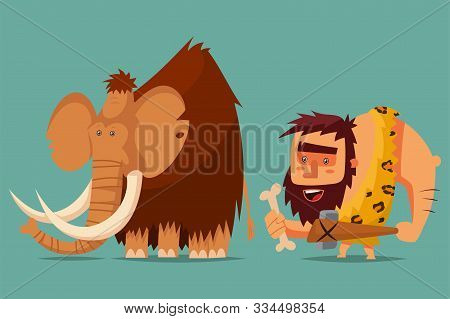 Mammoth And Caveman With A Stone Age Weapon In His Hand. Vector Cartoon Illustration Of A Primitive