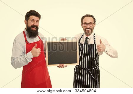Bar Cafe Staff. Hiring Staff. Men Bearded Hipster Informing You. Men Bearded Bartender Or Cook In Ap