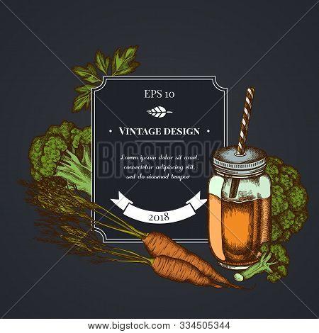 Dark Badge Design With Broccoli, Greenery, Carrot, Smothie Jars Stock Illustration