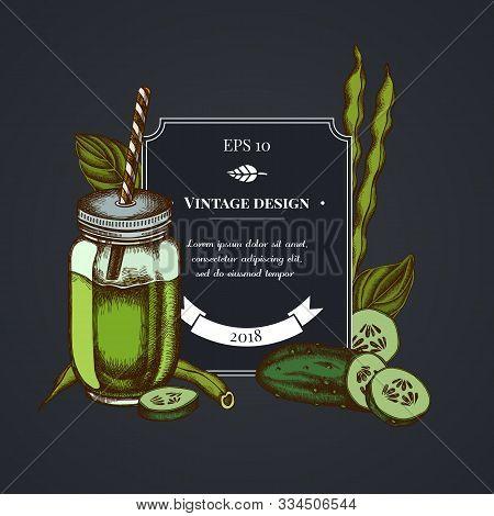 Dark Badge Design With Green Beans, Basil, Smothie Jars, Cucumber Stock Illustration