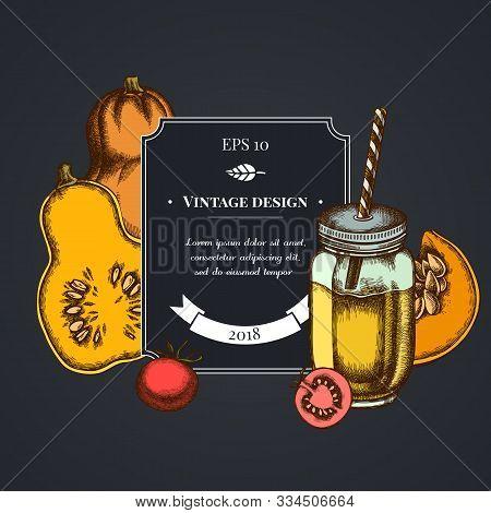 Dark Badge Design With Cherry Tomatoes, Pumpkin, Smothie Jars Stock Illustration