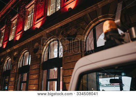 Strasbourg, France - Nov 23, 2017: Low Angle View Of Siren On The Emergency Truck Van Rooftop With A