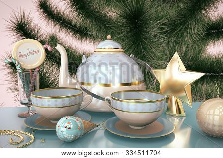 3d Illustration Of Merry Christmas Card With Christmas Tree Toys Tea Cup Teakettle Candy Ice Cream C