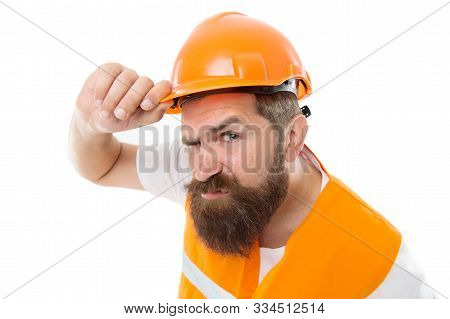 Brutal And Hardworking. Brutal Worker Isolated On White. Bearded Man With Brutal Look. Construction