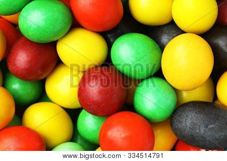 Colorful Background Of Assorted Rainbow Chocolate Coated Peanut, Top View