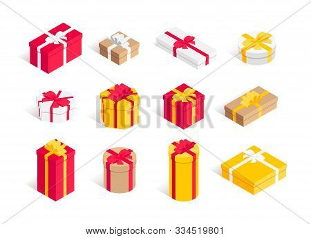 Isometric Gift Box Set. 3d Surprise Round, Square, Polygonal Big And Small Present Boxes Red, Yellow
