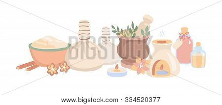Vector Illustration Ayurveda In Flat Style. Set Of Hand Drawn Elements For Ayurvedic Massage And Aro