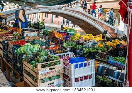 Venice, Italy - October, 2019: Floating Fruit Market In Venice Italy