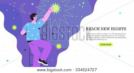 Vector Illustration Of Businessman Or Man Getting Or Reaching Star From The Night Sky In A Flat Geom