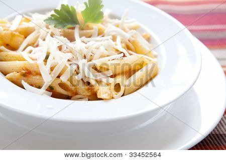 Penne Pasta With Cheese And Parsley