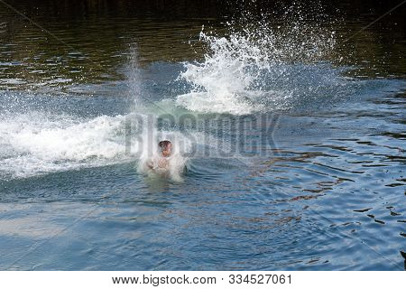 Image Of Young Man Jumps Into The Water Splashing Water Close-up