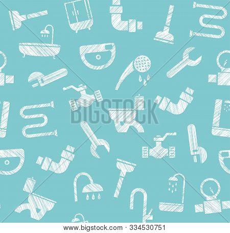 Plumbing And Plumbing, Seamless Pattern, Pencil Hatching, Blue, Vector. Plumbing Tools And Spare Par