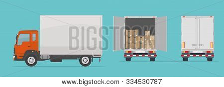 Delivery Truck Isolated On Blue Background. Side And  Back View. Transport Services, Logistics And F