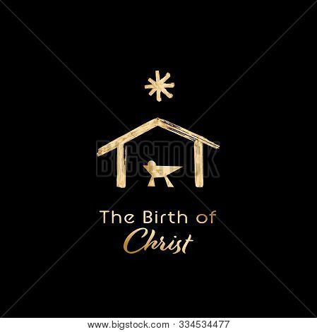 Christmas Time. Manger With Baby Jesus, Mary, Joseph And Star Of Bethlehem. Text : The Birth Of Chri