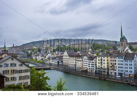 Zurich, Switzerland - May 10, 2018: View Of Zurich. Panorama Of Zurich. Street Photo. Zurich Archite