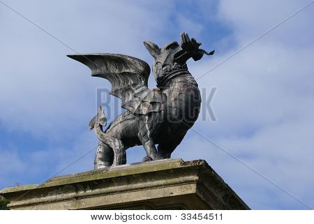 statue of Welsh dragon