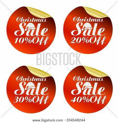 Christmas Sale Stickers Set 10%, 20%, 30%, 40% Off With Santa Claus Hat.vector Illustration