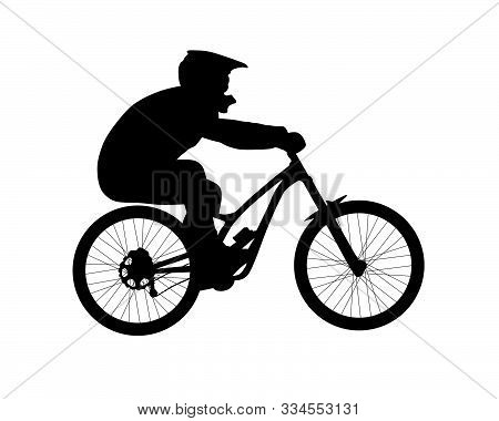 Silhouette Of Bicyclist Riding Downhill Mountain Bike. Black And White Vector Illustration Isolated