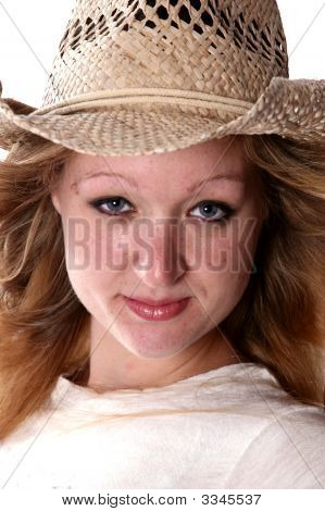 Pretty Woman In Cowboy Hat