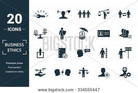 Business Ethics Icon Set. Include Creative Elements Csr, Trust, Morality, License To Work, Profitabi
