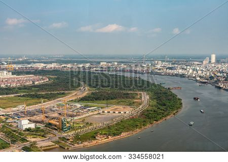 Ho Chi Minh City, Vietnam - March 12, 2019: Downtown. Looking Downstream Of Song Sai Gon River In Wi