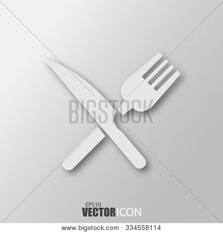 Crossed Fork And Knife Icon In White Style With Shadow Isolated On Grey Background.
