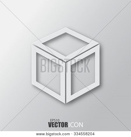 Cube Icon In White Style With Shadow Isolated On Grey Background.