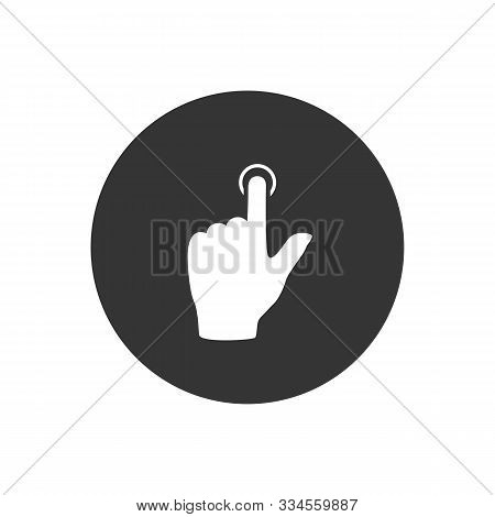 Touch Hand, Vector Best Flat Icon On Gray Background