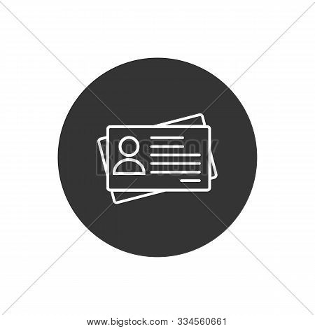 Id Card Icon In Flat Style. Identity Tag Vector Illustration White On Gray Isolated Background. Driv