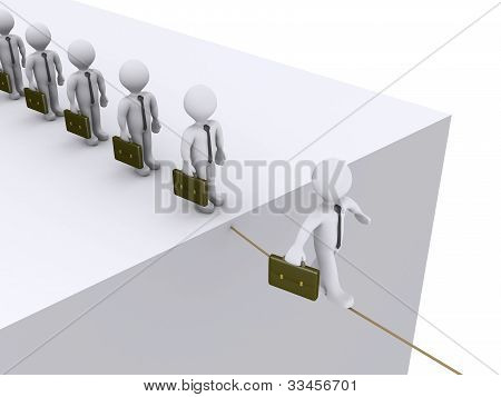 3d businessmen are waiting their turn to walk on rope poster